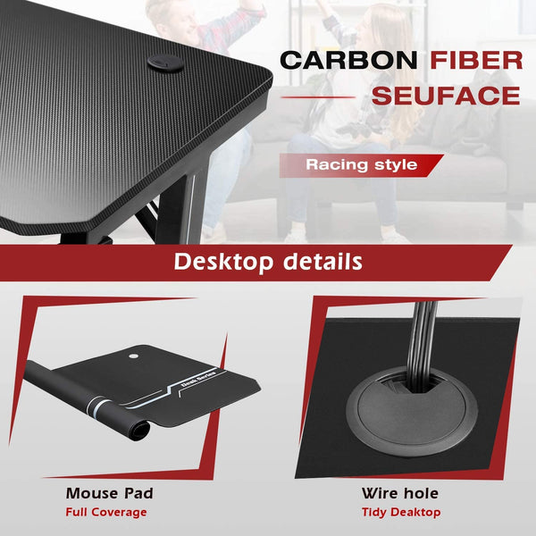 Furniwell 55 Inch Gaming Desk T-Shaped PC Computer Table, Home Office Desk Carbon Fibre Surface Workstation