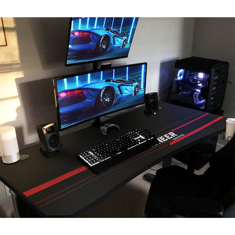 Furniwell 55 Inch T-Shaped Legs Computer Gaming Desk Carbon Fiber Surface Gaming Desk With Cup Holder & Headphone Hook