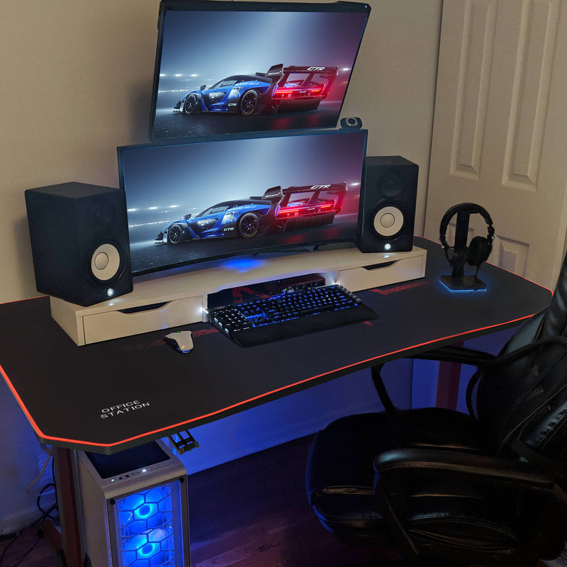 Furniwell 55 Inch Y-Shape Frame Gaming Desk Modern Style Racing Desk With Full Piece Of Mouse Pad, Cup Holder And Headphone Hook