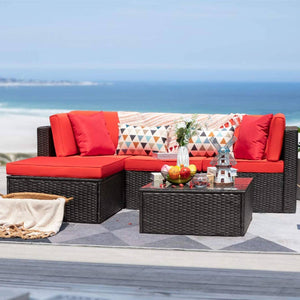 Furniwell 5 Pieces Patio Furniture Set All-weather Outdoor Sectional Sofa Rattan Patio Conversation Set with Cushion and Glass Table