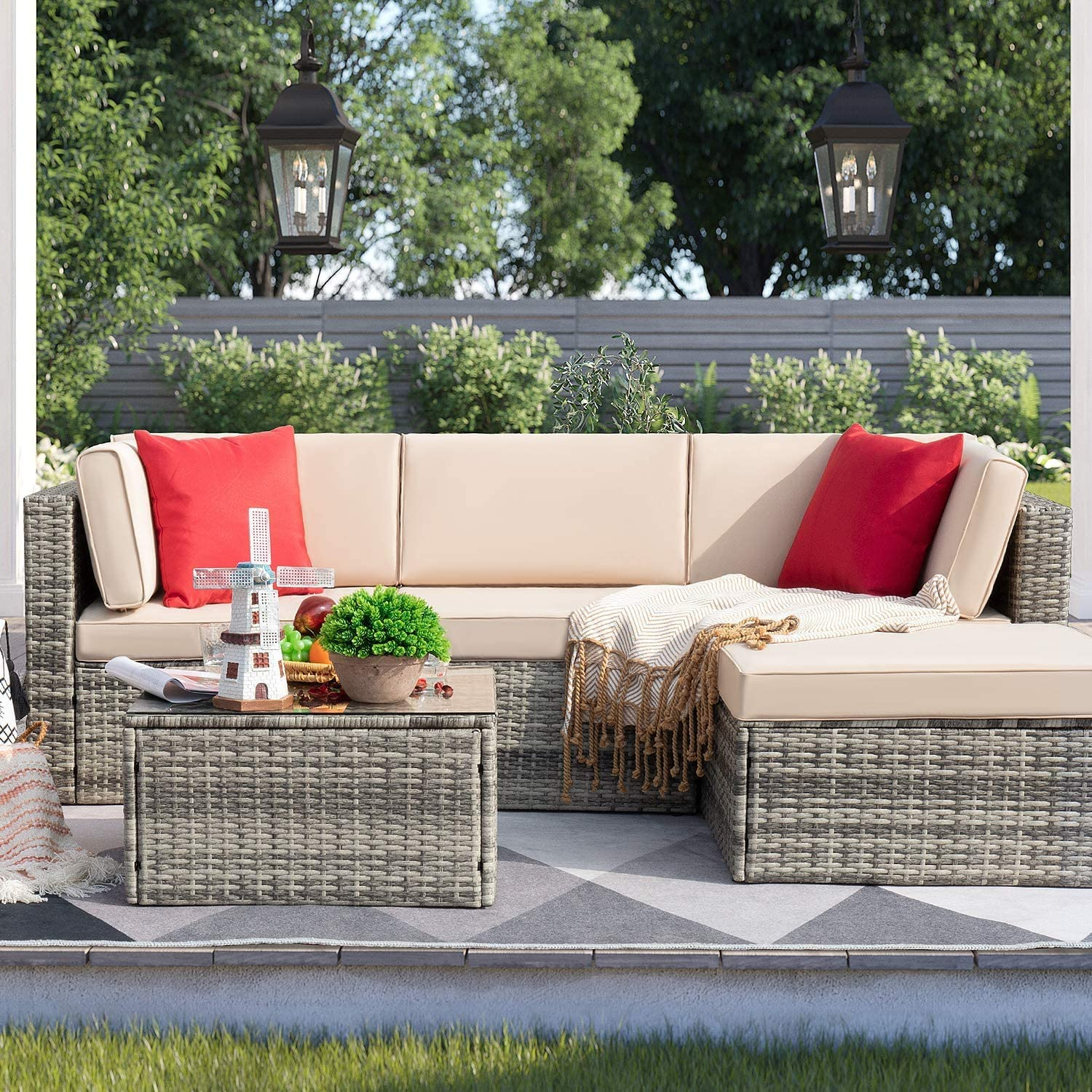 Furniwell 5 Pieces Patio Furniture Sets Outdoor Sectional Sofa Manual