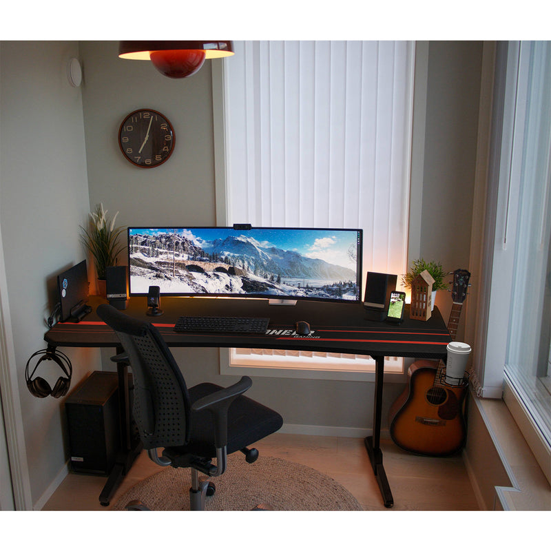 Furniwell 63 Inch T-Shaped Legs Computer Gaming Desk Carbon Fiber Surface Gaming Desk With Cup Holder & Headphone Hook