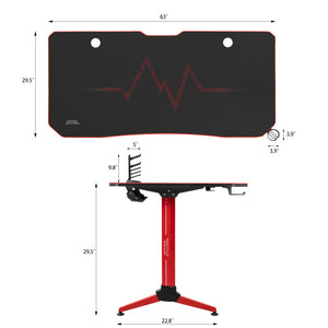 Furniwell 63 Inch Y-Shape Frame Gaming Desk Modern Style Racing Desk With Full Piece Of Mouse Pad, Cup Holder And Headphone Hook