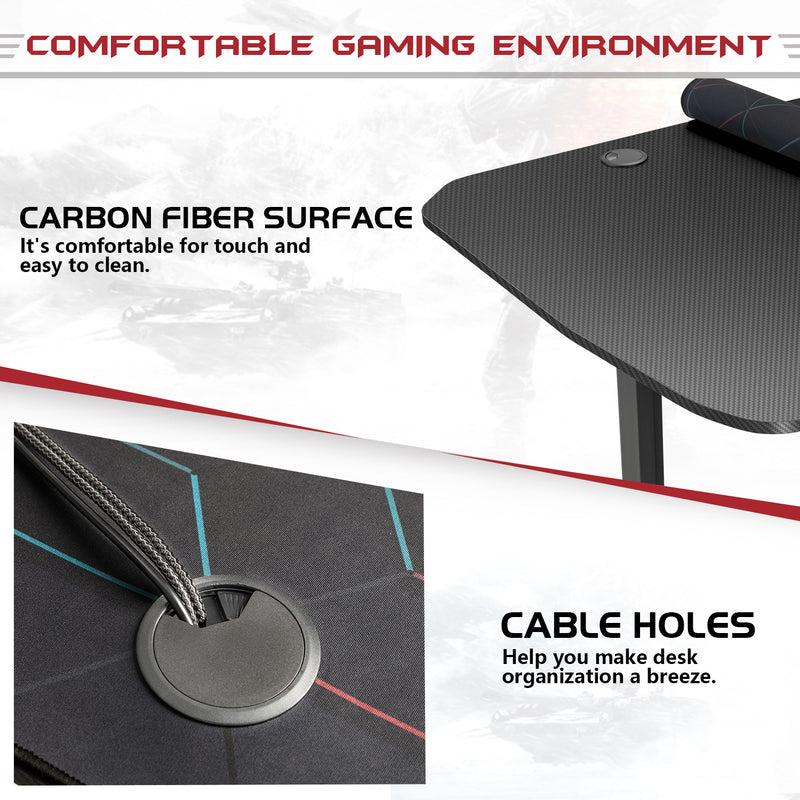 Furniwell 63 Inches Y-Shaped Legs Adjustable Height Computer Gaming Desk Carbon Fiber Surface Gaming Desk With Cup Holder & Headphone Hook, Black