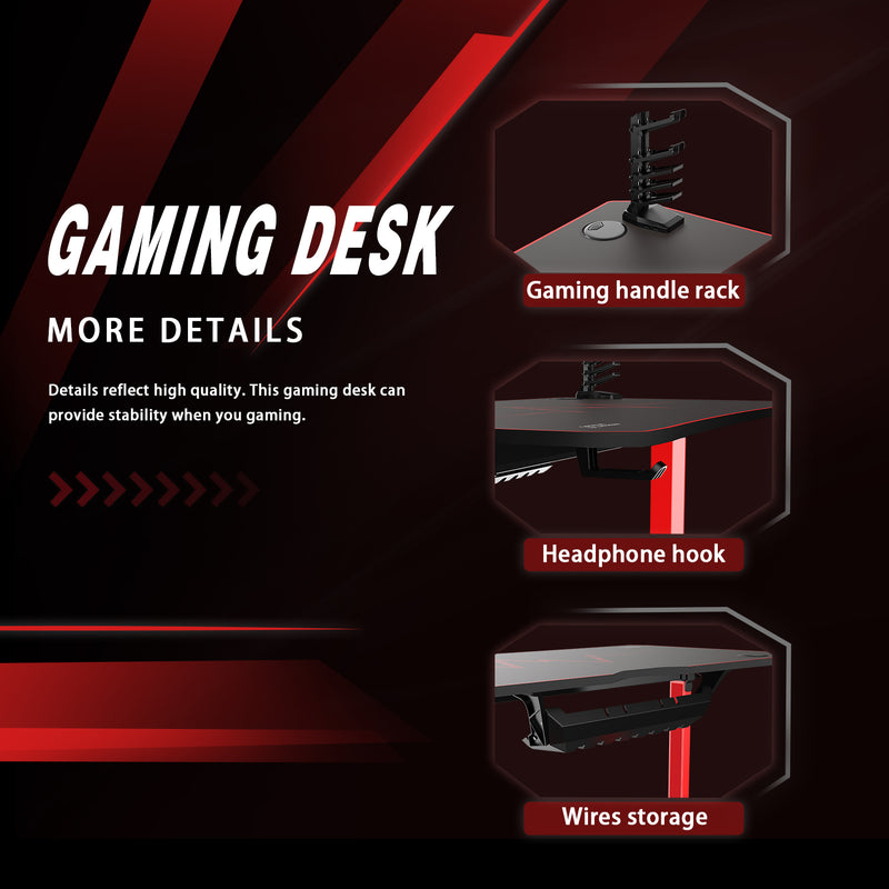 Furniwell 63 Inch Gaming Desk Y-shaped Legs Modern Style Racing Computer Desk With Full Piece Of Mouse Pad & Cup Holder & Headphone Hook