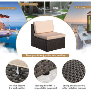 Furniwell 6 Pieces Patio Furniture Sets Outdoor Sectional Sofa All Weather PE Rattan Patio Conversation Set with Cushions and Glass Table