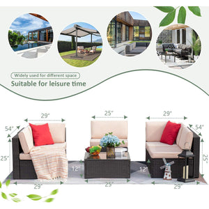 Furniwell 6 Pieces Outdoor Sectional Rattan Sofa All-Weather Manual Weaving Wicker Patio Conversation Set with Glass Table and Cushion