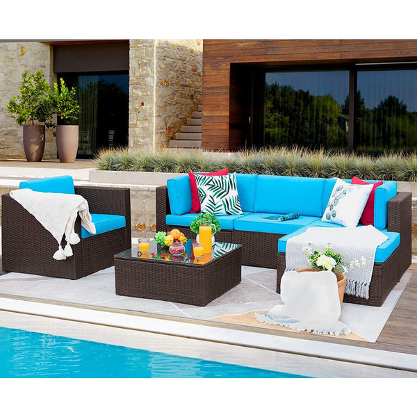 Furniwell 6 Pieces Patio Furniture Set Outdoor Sectional Sofa Outdoor Furniture Set Patio Sofa Set Conversation Set with Cushion and Table
