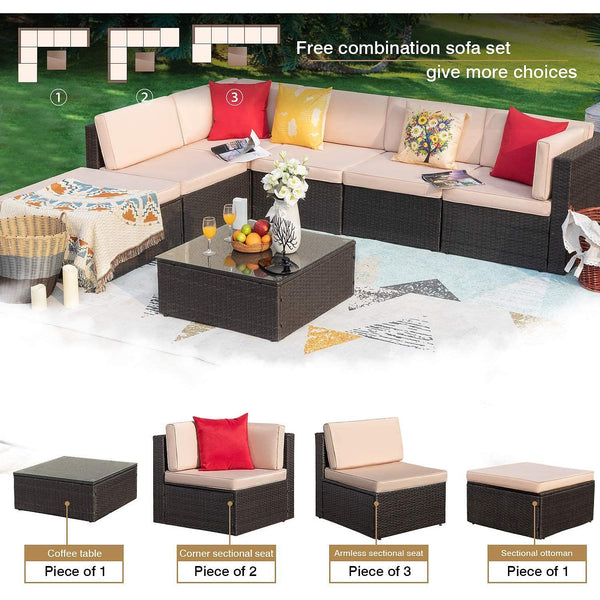 Furniwell 7 Pieces Patio Outdoor Furniture Sofa Set, All Weather PE Rattan Sectional Sets Outside Conversation Set with Thick Cushions and Table