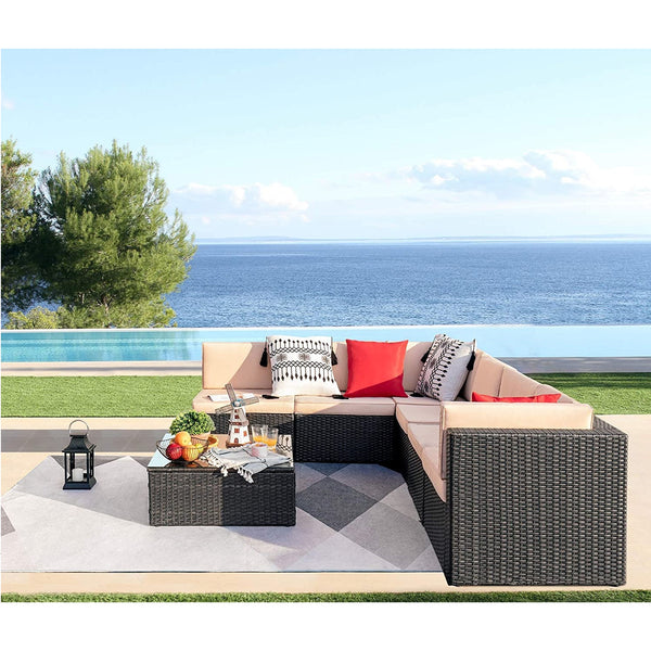 Furniwell 7 Pieces Outdoor Sectional Sofa All-Weather Patio Furniture Sets Manual Weaving Wicker Rattan Conversation Sets