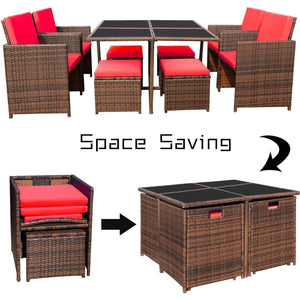 Furniwell 9 Pieces Patio Dining Sets Outdoor Furniture Wicker Rattan Chairs and Tempered Glass Table Sectional Conversation Set