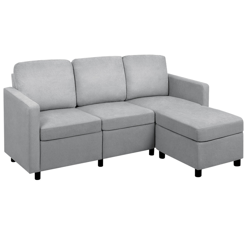 Furniwell Sectional Sofa Couch L Shaped Couch Modern Linen Fabric Convertible Living Room Sofa Set For Small Space