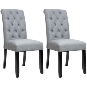 Furniwell Dining Chair Fabric Tufted Upholstered Design Armless Chair with Solid Wood Legs Tall Back Set of 2