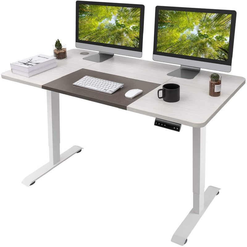 Furniwell Electric Height Adjustable Standing Desk 55 Inches Home Office Workstation T-Shaped Metal Bracket with Large Wood Tabletop