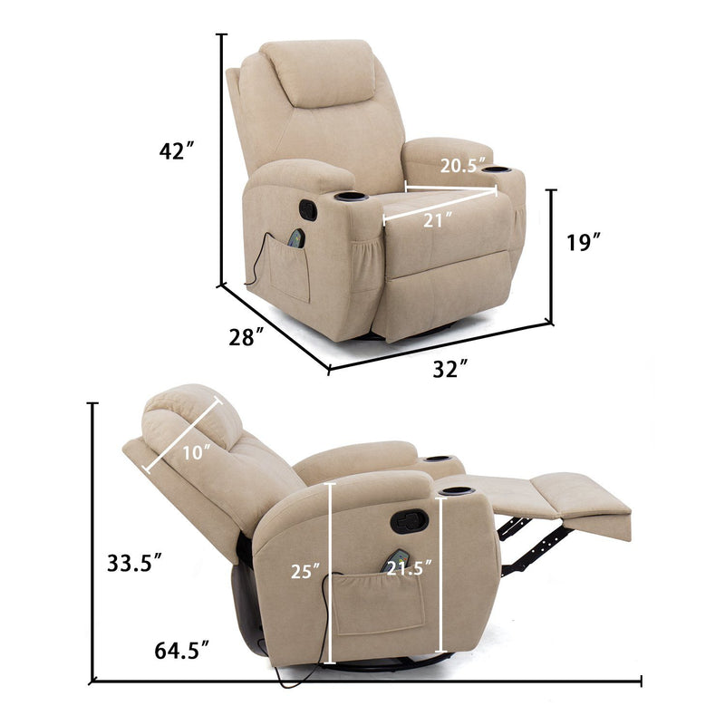Furniwell Fabric Massage Recliner Chair 360° Swivel Rocker Recliner Living Room Chair Home Theater Seating Heated Ergonomic Lounge Chair
