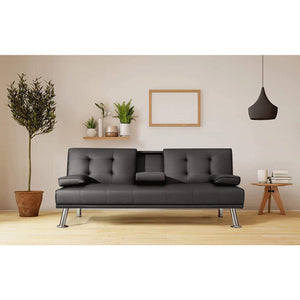 Furniwell Futon Sofa Bed Faux Leather Couch Modern Convertible Folding Recliner with 2 Cup Holders