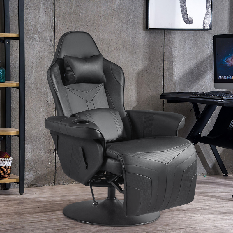 Furniwell Gaming Chair Computer Recliner Chair PU Leather Ergonomic Adjusted Reclining Single Sofa with Footrest Headrest and Lumbar Support, Black