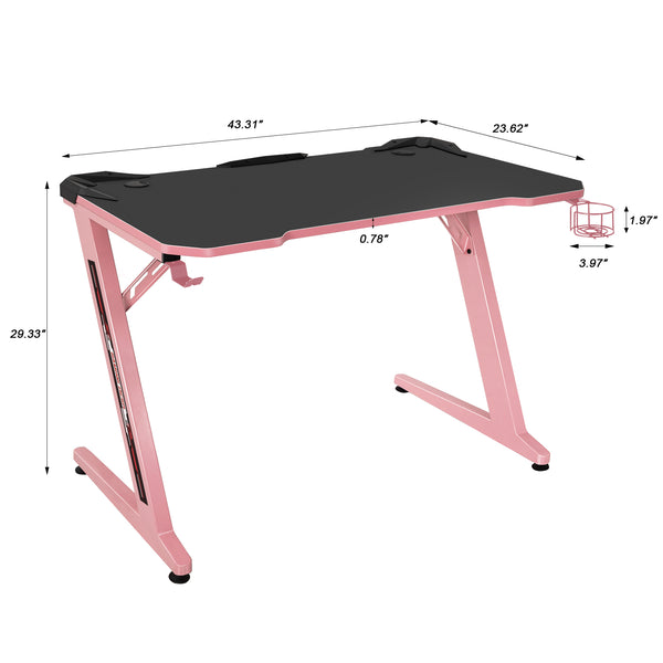 Furniwell Gaming Desk Gaming Table Computer Desk Gamer Table Z Shape Game Station with Large Carbon Fiber Surface, Cup Holder & Headphone