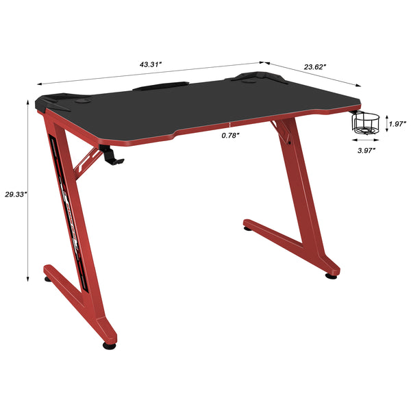 "Furniwell Gaming Desk 44"" Gaming Table Computer Desk Z Shape Gamer WorkStation with Large Carbon Fiber Surface, Cup Holder & Headphone Hook"