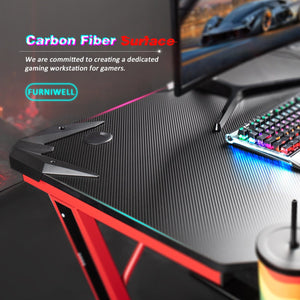 "Furniwell Gaming Desk 43.6"" Computer Table Office Desk Z Shaped PC Gaming Table Workstation with Carbon Fiber Surface Cup Holder & Headphone Hook"