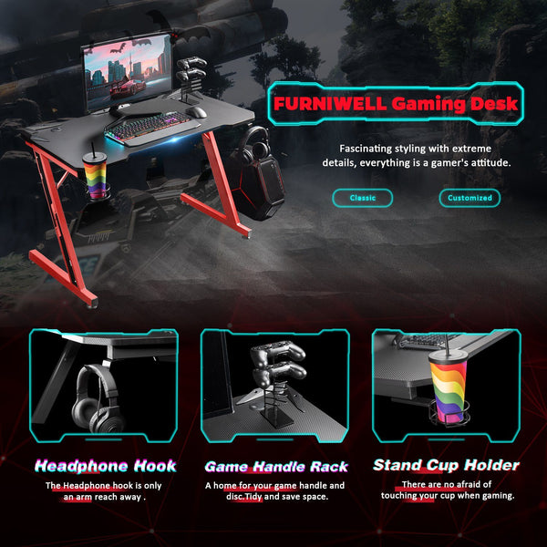 Furniwell Gaming Desk 43.6'' Computer Table Office Desk Z Shaped PC Gaming Table Workstation with Carbon Fiber Surface Cup Holder & Headphone Hook