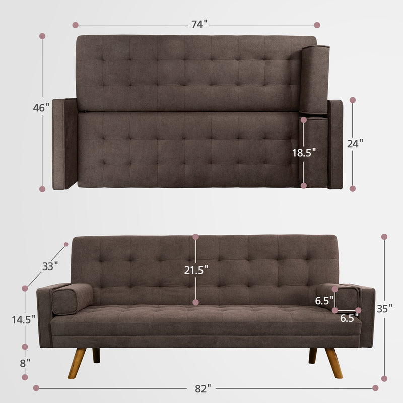 Furniwell Linen Pin Tufted Split Back Convertible Futon Sofa Bed Reclining Sofa Fabric Bench Seat