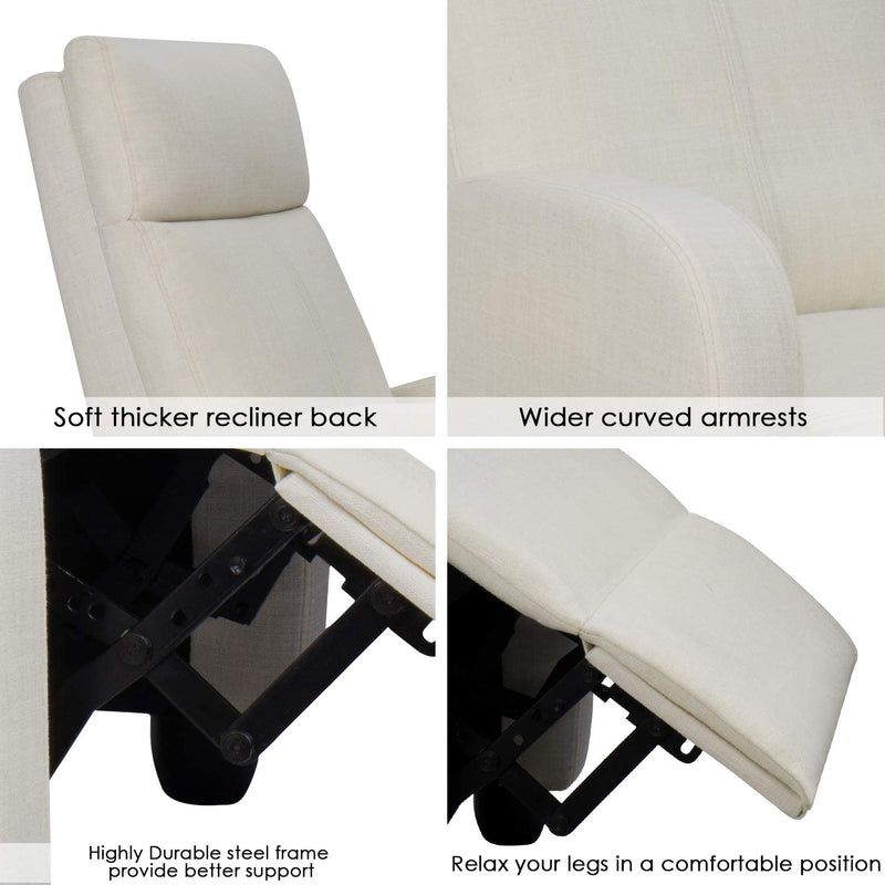 Furniwell Massage Recliner Chair Fabric Single Sofa Chair Padded Seat for Living Room Modern Recliner Seat Club Chair Home Theater Seating