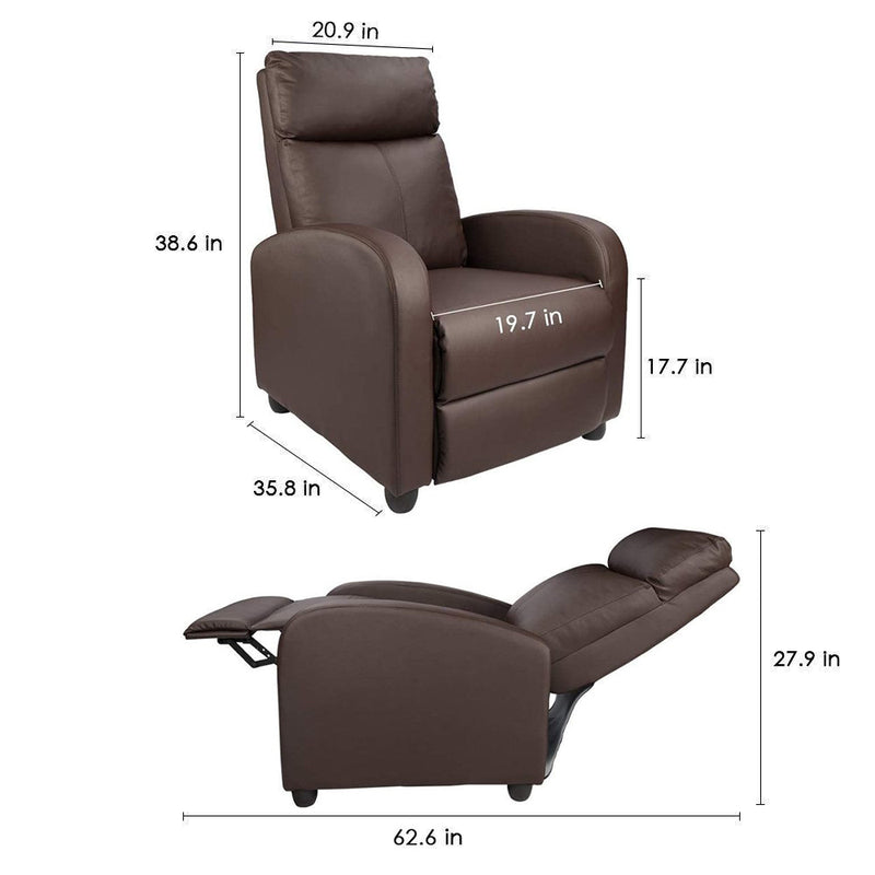 Furniwell Massage Recliner Chair PU Leather Armrest Single Sofa Chair Modern Home Theater Seating Padded Living Room Reclining Chair