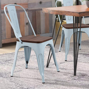 Furniwell Metal Dining Chair Indoor-Outdoor Use Stackable Chic Dining Bistro Cafe Side Metal Chairs Set of 4