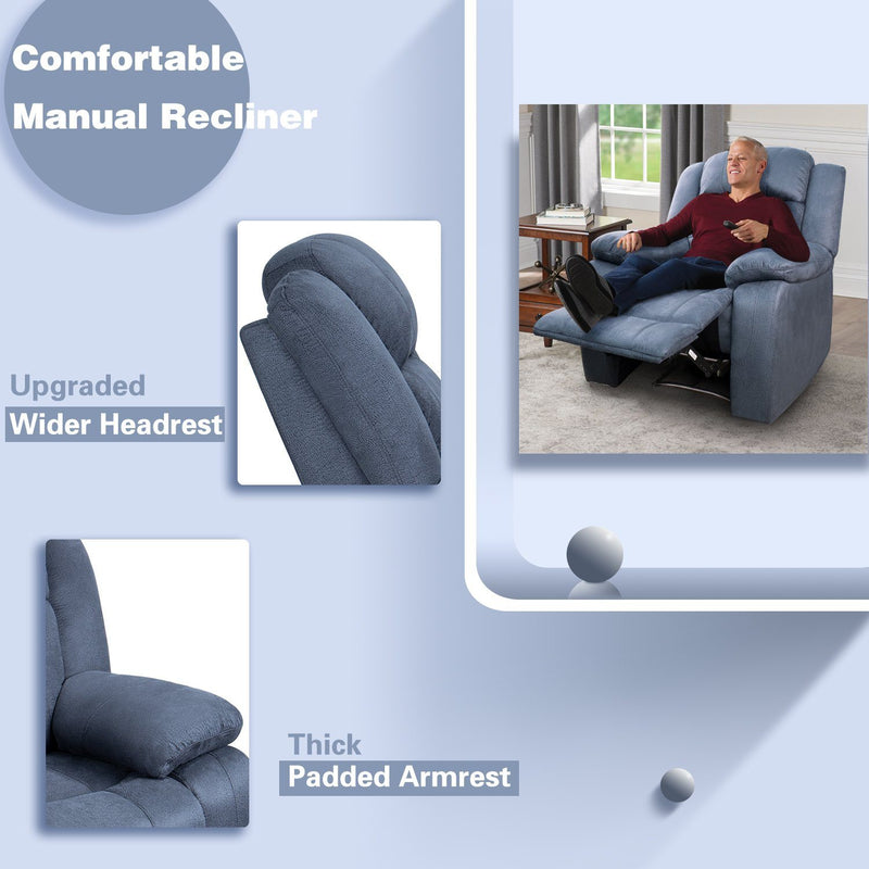 Furniwell Microfiber Manual Wall Hugger Recliner Chair with Massage Oversized Soft Recliner Single Sofa Chair