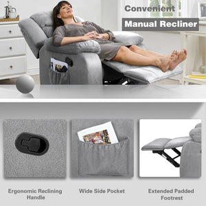Furniwell Microfiber Manual Wall Hugger Recliner Chair with Massage