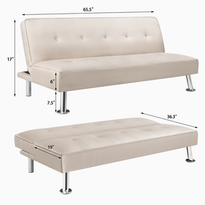 Furniwell Modern Design Linen Futon Sofa Convertible Sofa Bed