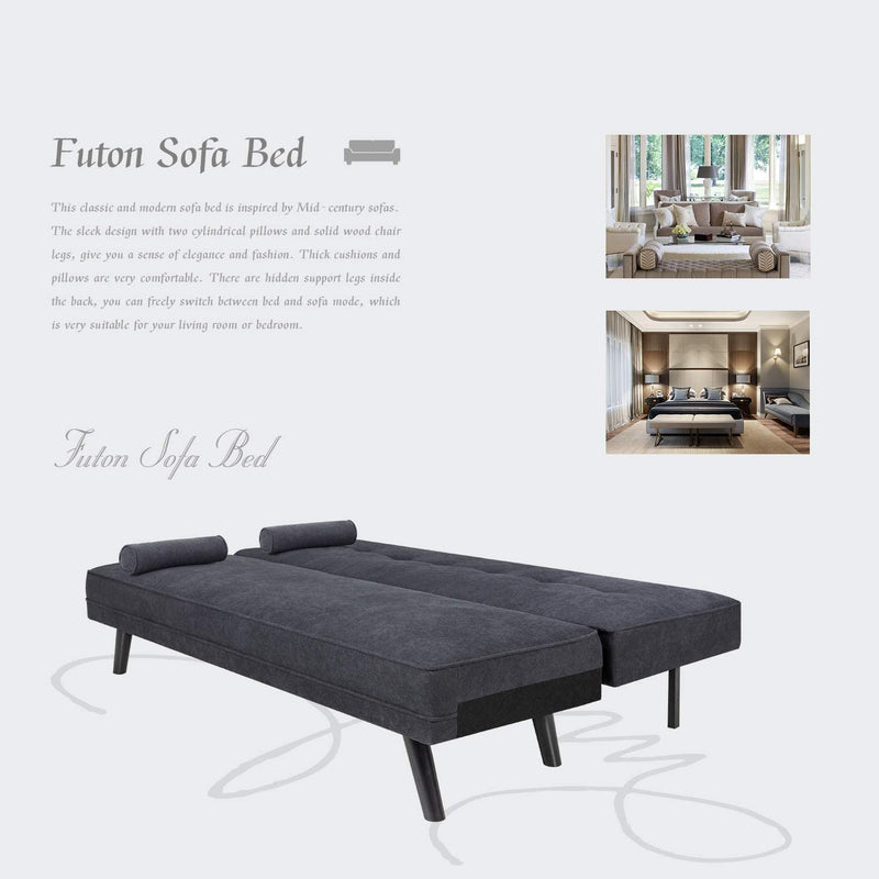 Furniwell Modern Fabric Split Back Futon Sofa Bed Convertible Reclining Sofa with 2 Cushion for Living Room and Office