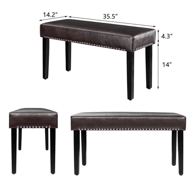 Furniwell Modern PU Leather Upholstered Dining Bench Entryway Bench with Nailhead Trim