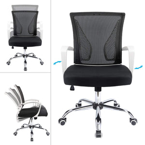 Furniwell Office Chair Mid Back Swivel Lumbar Support Desk Chair, Computer Ergonomic Mesh Chair with Armrest
