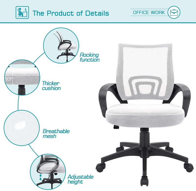Furniwell Office Chair Ergonomic Mid Back Swivel Mesh Chair Height Adjustable Lumbar Support Computer Desk Chair with Armrest