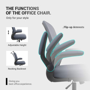 Furniwell Office Desk Chair Ergonomic Mesh Chair Lumbar Support with Flip-up Arms and Adjustable Height