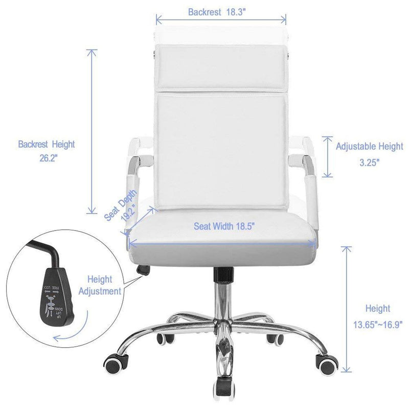 Furniwell Office Desk Chair Mid-Back Computer Chair Leather Executive Adjustable Swivel Task Chair Conference Chair with Armrests