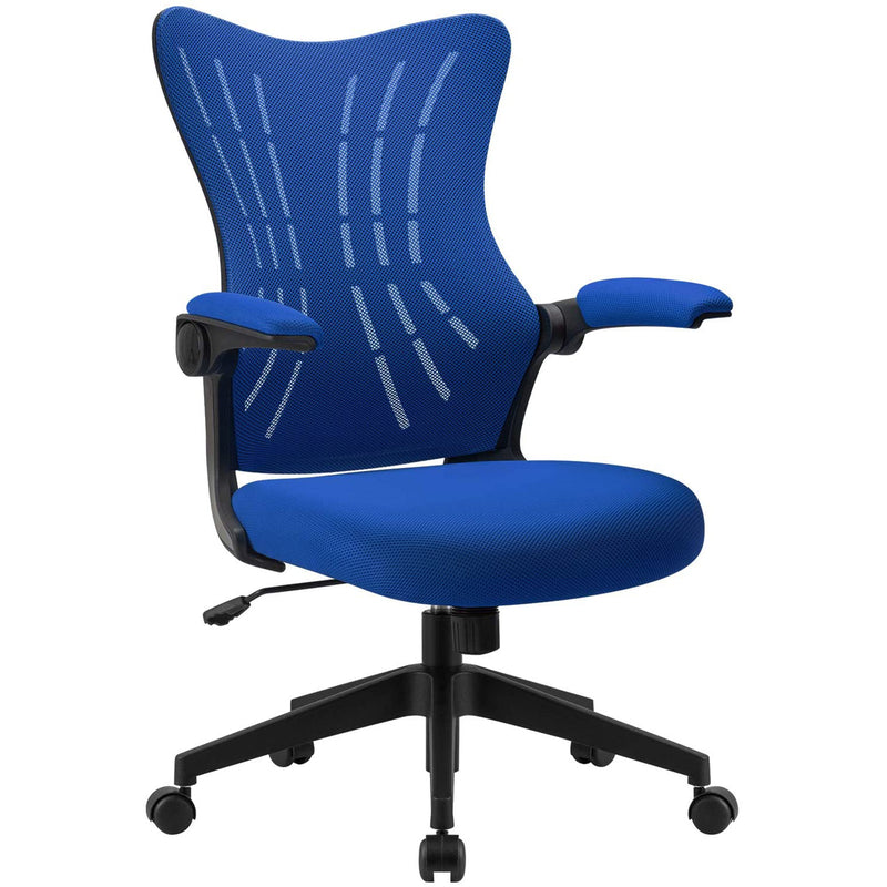 Furniwell Office Desk Chair with Flip Arms,Mid Back Mesh Computer Chair Swivel Task Chair with Ergonomic with Lumbar Support