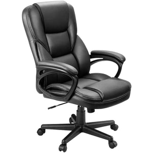 Furniwell Office Exectuive Chair High Back Adjustable Managerial Home Desk Chair,Swivel Computer PU Leather Chair with Lumbar Support