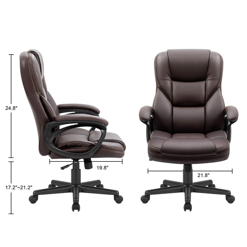 Furniwell Office Chair Exectuive Chair High Back Adjustable Managerial Home Desk Chair, Swivel Computer PU Leather Chair with Lumbar Support