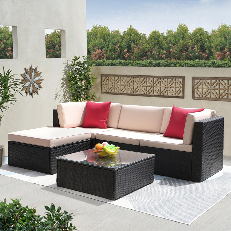 Furniwell 5 Pieces Patio Furniture Set All-weather Outdoor Sectional Couch Rattan Garden Small Patio Conversation Set with Glass Table
