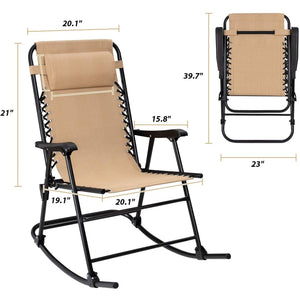Furniwell Patio Rocking Chair Zero Gravity Chair Outdoor Folding Recliner Foldable Lounge Chair Outdoor Pool Chair for Patio, Poolside and Camping