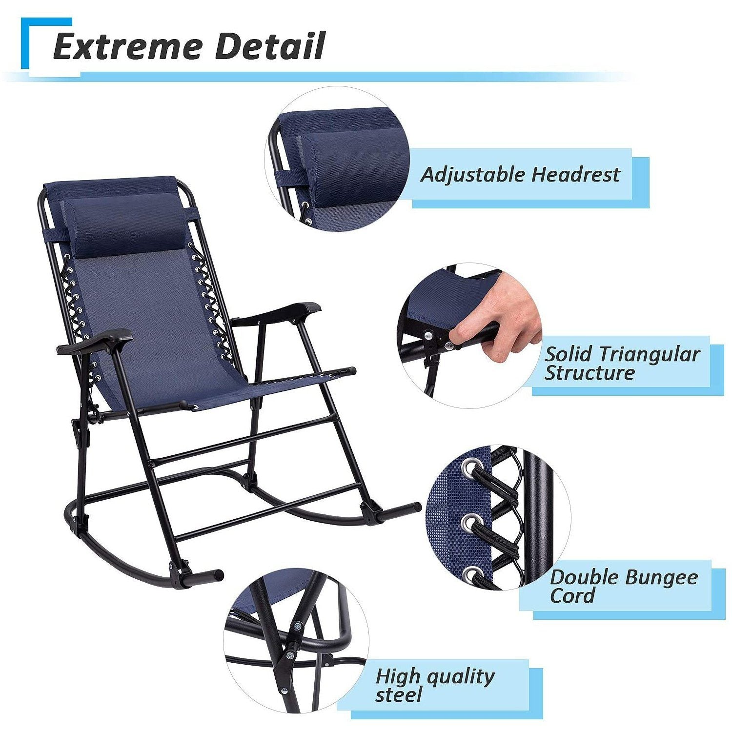 Picture of: Furniwell Patio Rocking Chair Zero Gravity Chair Outdoor Folding Recliner Foldable Lounge Chair Outdoor Pool Chair For Poolside And Camping Furniwell