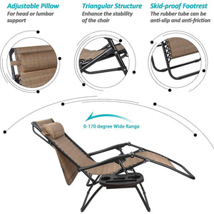 Furniwell Patio Zero Gravity Chair Outdoor Recliner Lounge Chair with W/Folding Canopy Shade and Cup Holder