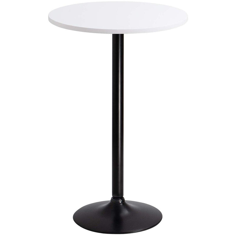 Furniwell Bistro Pub Table Round Bar Height Cocktail Table Metal Base MDF Top Obsidian Table with Black Leg