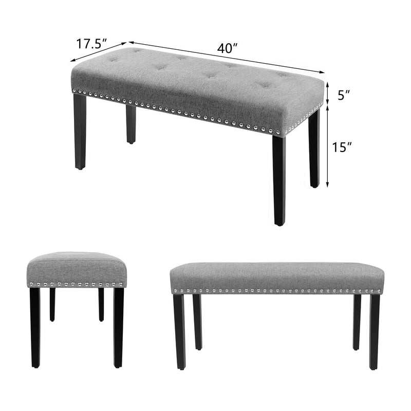Furniwell Tufted Upholstered Dining Bench with Nailhead Trim