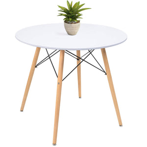 "Furniwell White Round Dining Table 32"" Modern Pedestal Small Circle Table Leisure Tea Coffee Kitchen Table"