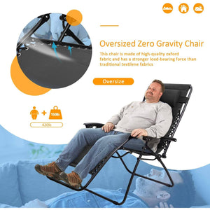 Furniwell Zero Gravity Chair Oversized Padded Patio Adjustable Recliner Outdoor Lounger Chair with Headrest for Poolside, Yard and Camping