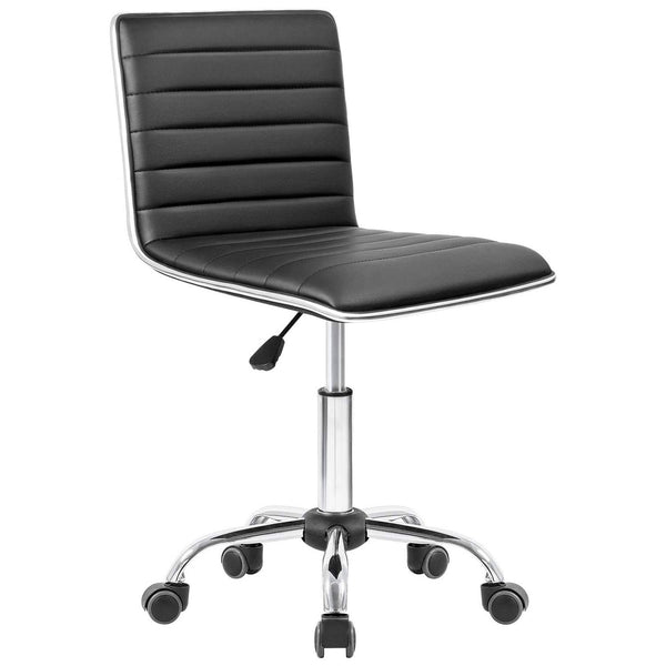 Furniwell Modern Adjustable Low Back Office Chair Armless Ribbed Task Chair Office Desk Chair Vanity Chair Swivel Rolling Leather Computer Chairs